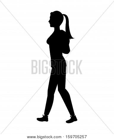 silhouette girl tail hair walking side walking vector illustration eps 10