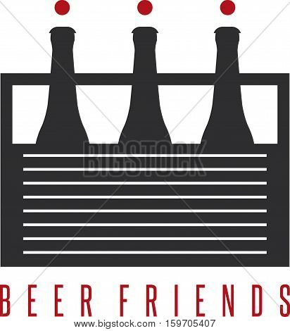 Six Pack Beer Bottles With Abstract Humans Vector Design Template