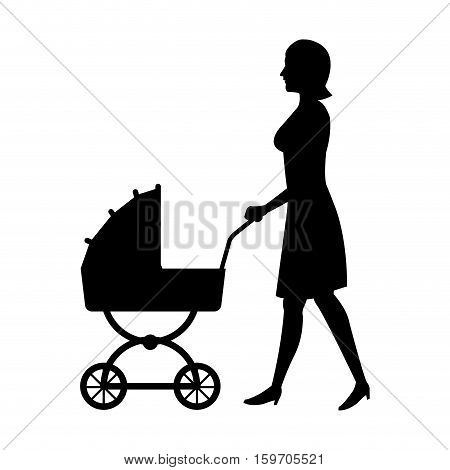 silhouette woman mother with pram baby walking vector illustration eps 10