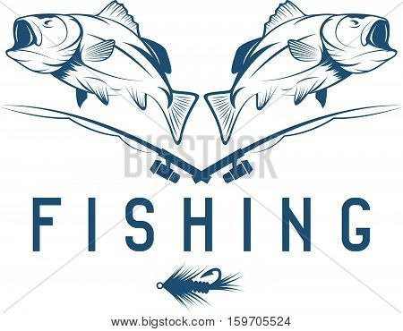 Vintage Fishing Vector Design Template With Bass