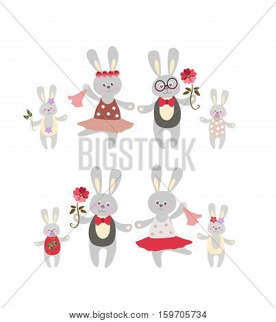 Two rabbit family on white background.. Father, mother, son daughter. Cute cartoon animals.