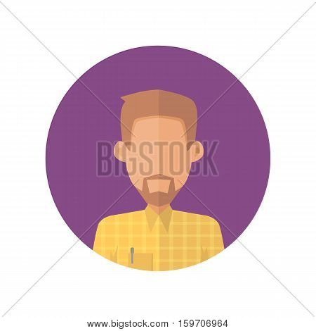 Man character avatar vector in flat style design. Bearded male personage portrait icon in violet circle. Illustration for concepts, app pictograms, infographic. Isolated on white background.