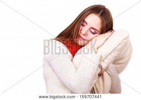 Woman Sleepy Tired With Pillow Almost Falling Asleep