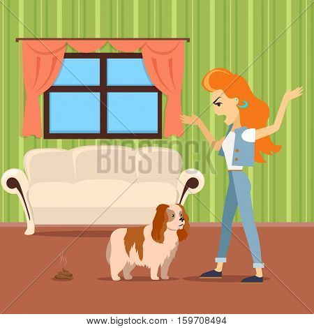 Dog training vector concept. Flat design. Woman scolding dog because excrement on the carpet in the middle of the room. Pet problematic behavior. Attention and walks deficit. For cleaning company ad