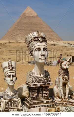 CAIRO, EGYPT - 03 APRIL 2016 : Giza Pyramids and Egypt Gods statues in Cairo, Egypt