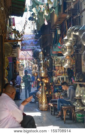 CAIRO, EGYPT - APRIL 02, 2016: Historical  Khan El-Khalili Souq marketplace is one of the tourist magnets in Capital City Cairo, Egypt.