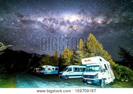 GLENTENNER NEW ZEALAND - AUGUST 30 2016: Milky way from glentanner campsite New Zealand.