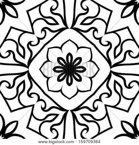 Oriental seamless ornamental pattern. Vector black and white background. Template for carpet flooring tile wallpaper textile.