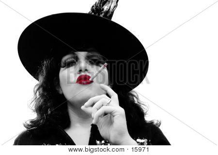 B&W Portrait With Red Lips