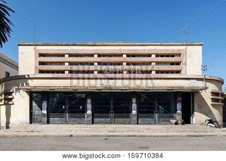 italian colonial art deco old cinema building in asmara eritrea street