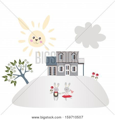 Sweet home and garden of bunnies. Cute card with two hares, house, blooming tree, flowers, sun and cloud.