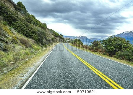 Road along Lake Wakatipu Queenstown New Zealand