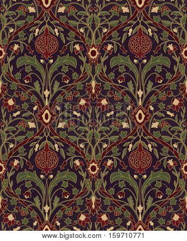 Dark floral pattern. Seamless rich European ornament of the Victorian era. Stylized colorful template for wallpaper textile bedspread curtain shawl tile carpet and any surface.