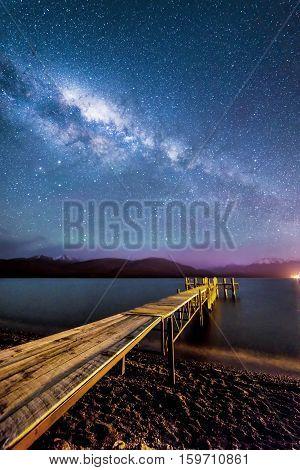 Milky way star at Te Anau Lake, New Zealand