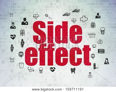 Healthcare concept: Painted red text Side Effect on Digital Data Paper background with  Hand Drawn Medicine Icons