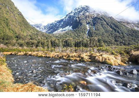Water stream with snow mountain at monkey creek New Zealand