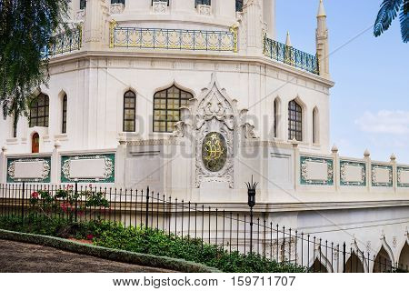 HAIFA ISRAEL - CIRCA SEP 2016: Bahai temple veranda outside closeup