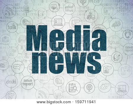News concept: Painted blue text Media News on Digital Data Paper background with  Scheme Of Hand Drawn News Icons