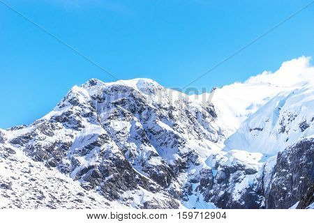 Top Mountains Covered With Snow - Southern Alps New Zealand