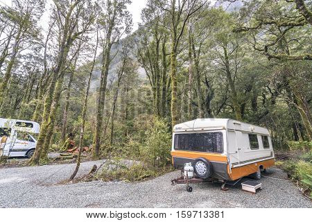 MILFORD SOUND NEW ZEALAND - SEPT 04 2016: Motorhome park at Milford Sound Campsite New Zealand.