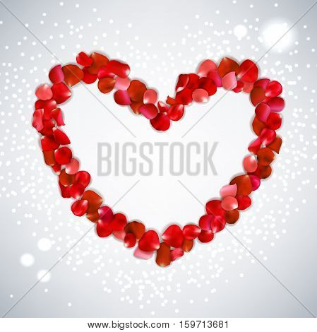 Heart Shape Of Red Rose Petals On Gray Background, Vector Illustration Valentine's Day With Beautifu