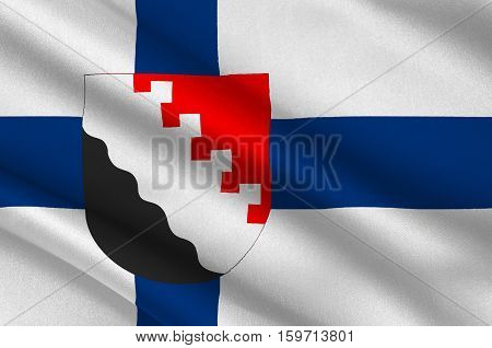 Flag Of Joensuu is a city and municipality in North Karelia in the province of Eastern Finland. 3d illustration