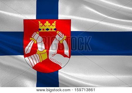 Flag Of North Karelia is a region in eastern Finland. 3d illustration