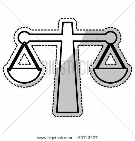 silhouette of law scale icon over white background. vector illustration