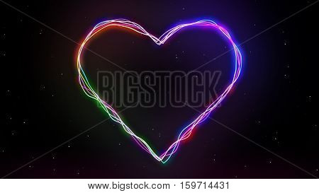 Abstract Heart with Neon Lights Lines 2D Illustration, Background for Happy Valentine's Day, February 14