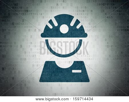Industry concept: Painted blue Factory Worker icon on Digital Data Paper background