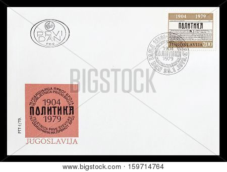 YUGOSLAVIA - CIRCA 1979 : Cancelled First Day Cover Letter printed by Yugoslavia, that shows Newspaper Politika.