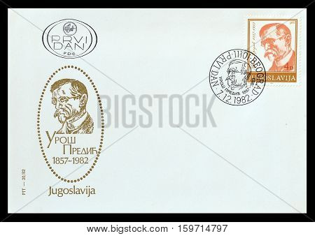 YUGOSLAVIA - CIRCA 1982 : Cancelled First Day Cover Letter printed by Yugoslavia, that shows Uros Predic.