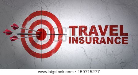 Success Insurance concept: arrows hitting the center of target, Red Travel Insurance on wall background, 3D rendering