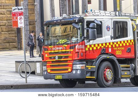 SYDNEY AUSTRALIA - AUGUST 26 2016 - Fire Engine truck park as a stanby mode.