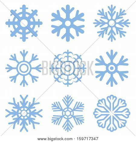 Vector illustration blue snowflake icon set .