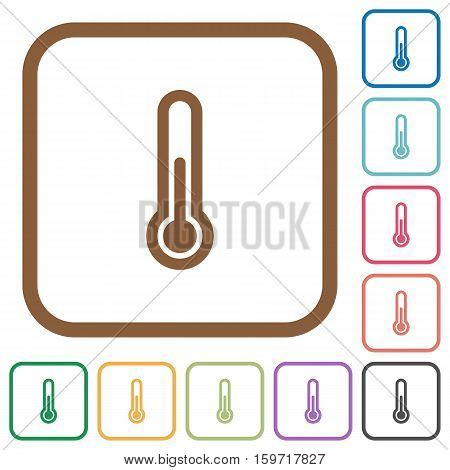 Thermometer simple icons in color rounded square frames on white background