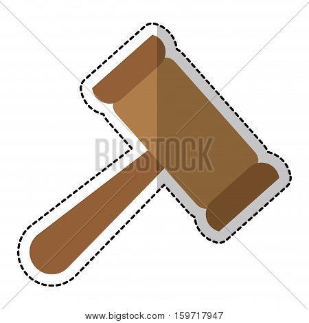 law gavel sticker  icon over white background. vector illustration