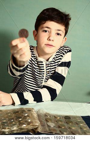 Boy Preteen Numismatic Collector