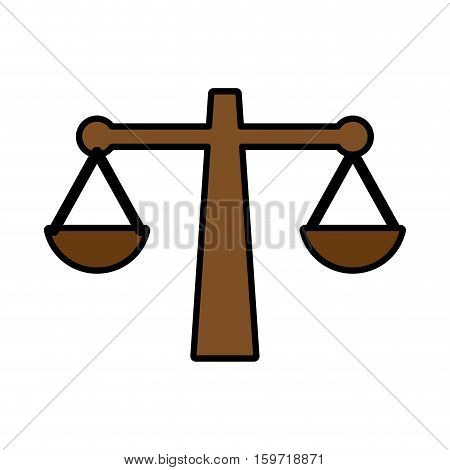 law scale icon over white background. vector illustration