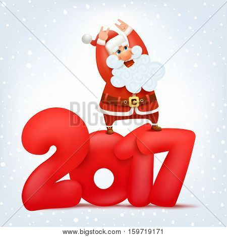 Crazy santa claus character. New year calendar title concept vector illustration