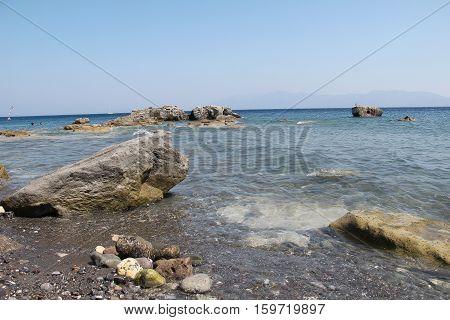 The Aegean Sea / Coast of the Aegean Sea on a Greek island of Kos