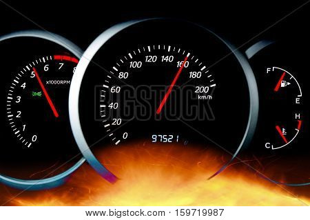 The dashboard of the car close-up/ tachometer, speedometer