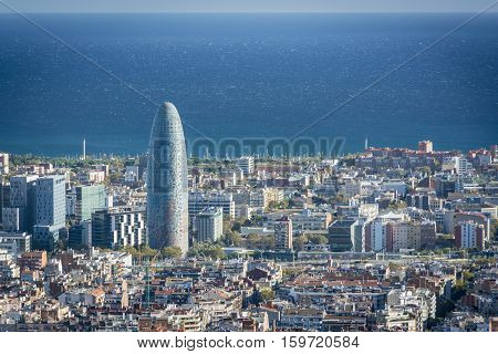Torre Agbar in financial district of Barcelona, 38-story tower in Barcelona. The tower has a total of 50693 square meters, of which 30000 are in offices.