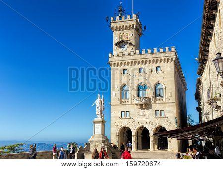 San Marino. San Marino Republic - November 06 2016: Central square of San Marino. Public Palace and statue of Liberty