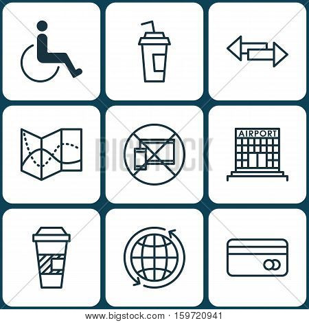 Set Of 9 Travel Icons. Can Be Used For Web, Mobile, UI And Infographic Design. Includes Elements Such As Airport, Road, Crossroad And More.
