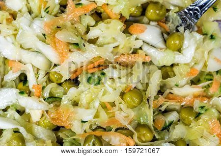 Cabbage salad with peas. Rustic style. Yjme stale