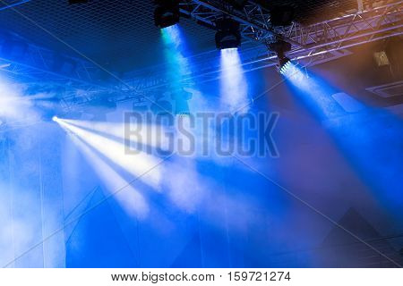 Stage lights. Soffits. Concert light. Multicolored spotlights