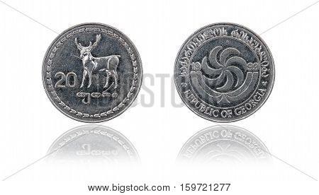 Coin 20 tetri GEL with mirror reflection. Republic of Georgia