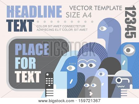 Large group of people watching TV vector template size A4. Multipurpose brochure flyer design layout template with place for text. Mock up proportional size A4 front page.