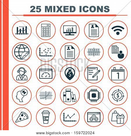 Set Of 25 Universal Editable Icons. Can Be Used For Web, Mobile And App Design. Includes Elements Such As Money Recycle, Keyword Optimisation, Agenda And More.